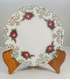 Vintage Roslyn Bone China Side Plate R566 Red Gala Roses England in Pottery, Glass, Pottery, Porcelain, Other Porcelain | eBay!