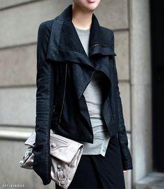A new take on the dark denim biker jacket -perfection.