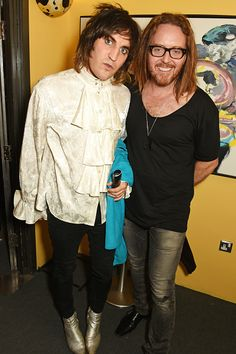 Noel Fielding & Tim Minchin [Australian comedian, actor, writer, musician and director] attend the press night performance of '27' (where Noel works with Eric Idle of Monty Python fame!) at The Cockpit Theatre, Sept 12, 2016 in London. Noel does like a poet's shirt, doesn't he? :) He has a red one and a black one as well... (I do worry a bit that I know his wardrobe...)