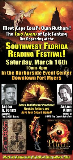 An advertisement for Jason and Jasons appearance at the SWFL Reading Festival 2013