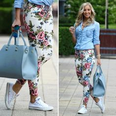 White Converse + Floral Jeans=YES! To this entire outfit Blumenhosen Outfit, Floral Pants Outfit, Look Fashion, Autumn Fashion, Fashion Outfits, Womens Fashion, Daily Fashion, Style Simple, My Style