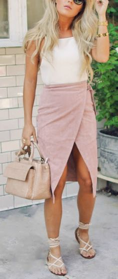 Wrap skirt + strappy sandals.