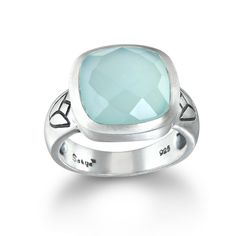 Chalcedony Square Lotus Ring