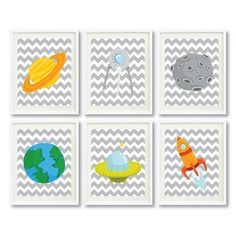 Outer Space Art Print Set of Six 8x10 - Earth, Saturn, Moon, Rocket, Spaceship, Planets-Grey Chevron-Blue, Green, Orange, Yellow-Kids Room on Etsy, $70.00