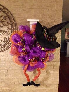 Halloween Wreath Witch Wreath Mesh Wreath  by WreathDesignsByJess, $65.00