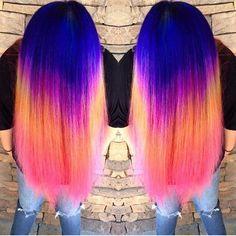 Neon Rainbow Hair Color by Ella Parrie http://hotonbeauty.com Mermaid hair Unicorn hair Hair color melt Hair painting