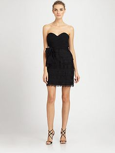 Want this for my bridesmaids dress!!! Badgley Mischka - Lace-Trimmed Strapless Dress