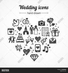 Hand drawn vector set of wedding icons: marriage, rings, couple, bride, groom, love