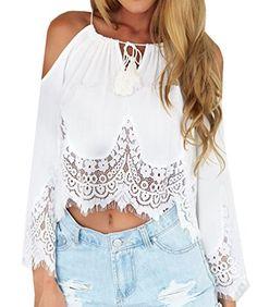 VIISHOW Women's Strap Off Shoulder Lace Crochet Crop Top Blouse (XS, White) Viishow http://www.amazon.com/dp/B013BGXSBW/ref=cm_sw_r_pi_dp_QO6twb1MFBM1G