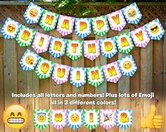 Emoji Inspired Birthday Banner Emoji Birthday Banner Emoji Happy Birthday Banner Emoji Bunting Emoji Garland Emoji Sign Emoji Birthday Party