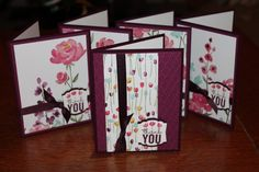 SU! Painted Petals stamp set (sentiment only) and Painted Blooms DSP; Rose Red and Blackberry Bliss card stock - Bertina Malloy