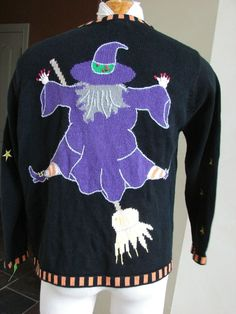 Vintage  Quacker Factory halloween Witches sweater cardigan  L #QuackerFactory #Cardigan