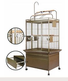 """Leilani Lookout™ Playtop Bird Cage: 2 Size Options! 32""""W x 24""""D x 60""""H 38""""W x 28""""D x 64""""H"""