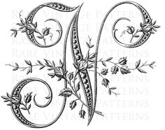 Fancy Antique FRENCH FLORAL ALPHABET STENCIL Large Letter - N -  We also have the rest of this Fancy Alphabet available in our Store  Vintage Hand Embroidery Pattern   ***========================***  Are you looking for something Special for your project just convo me and I will see what I can do for you. ***========================***   This vintage image has been scanned directly from my collection.  Every image I sell has been digitally cleaned, altered and adjusted by me.  2 x Printable…