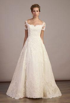 love the sleeves. lace ballgown wedding dress natural waist