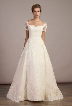 love the sleeves. lace ballgown wedding dress natural waist