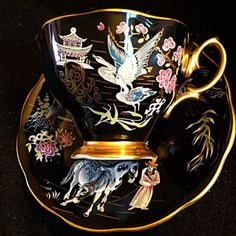 Royal Albert Oriental Chinoiserie Cranes Pagoda Horses Black Tea Cup And Saucer