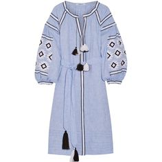 MARCH11 Geometry embroidered linen midi dress (16 470 ZAR) ❤ liked on Polyvore featuring dresses, blue, embroidered dress, embroidery dress, bohemian style dresses, geometric print dress and blue dress