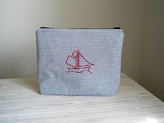 cosmetic bag  small bag  pouch  wristlet  by greylittlemouse, $38.00