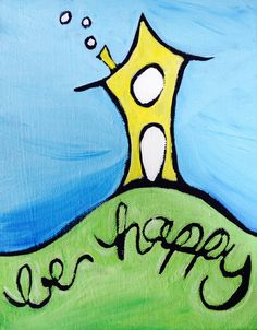Be Happy! Original artwork from Patrick Guindon Art available as a print on Etsy! Happy House, Original Artwork, Card Stock, Design Art, Disney Characters, Fictional Characters, Journal, Printed, The Originals