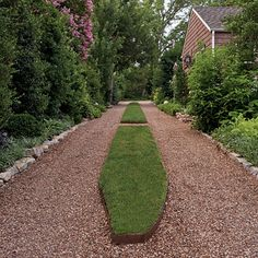 Great idea for the driveway - I've always loved gravel with the grass strip in the middle! #driveway