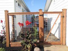 Garden Fence Gate Diy and Modern Fence In Nj. Hog Wire Fence, Metal Deck Railing, Dog Fence, Fence Gate, Metal Fence, Rail Fence, Gabion Fence, Wood Fences, Aluminum Fence