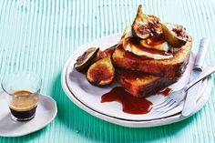Revamp the classic french toast with Valli Little& recipe. It calls for toppings of summery, sweet fig and caramel laced with Grand Marnier. Fig Recipes, Caramel Recipes, Brunch Recipes, Breakfast Recipes, Breakfast Ideas, Quick Puddings, Figs Breakfast, Great Australian Bake Off, Bake Off Winners