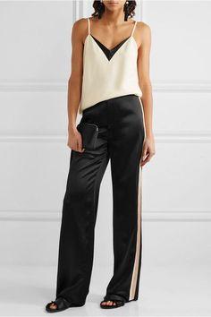 Lanvin - Striped Satin Wide-leg Pants - Black - FR