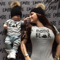 2017 New Mother and Baby Clothes T-shirt Little Bear Newborn Baby Boys Girls T-shirt Women Tshirt Tops Fmaily Matching Clothing