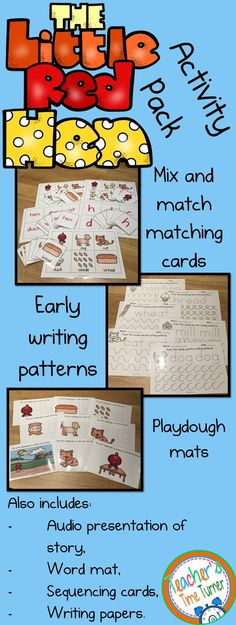The Little Red Hen story activity pack! It includes matching cards, writing patterns, play dough mats, an audio powerpoint of a simplified version of the story and a whole lot more!