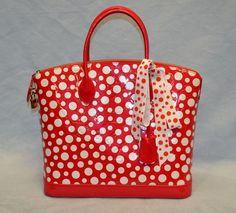 LOUIS VUITTON Yayoi Kusama Infinity Lockit Red White Polka Dot Handbag