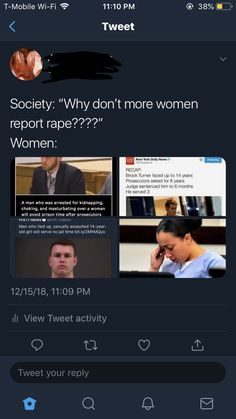 """T was unaware of how few women report rape, he said something to the effect of """"well most of them report it and things get done."""" and my jaw hit the ground. Intersectional Feminism, Pro Choice, We Are The World, Patriarchy, Equal Rights, Faith In Humanity, Social Issues, Social Justice, Human Rights"""
