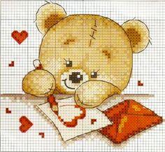 orsetto che scrive una lettera d'amore - punto croce