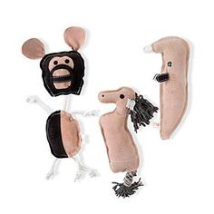 Mighty Paw Leather Dog Toys (3 in 1), 100% Natural, Eco-friendly Durable Dog Toy, Multiple-Squeakers per Toy, 1 Pig 1 Horse and 1 Monkey -- Check this awesome product by going to the link at the image.