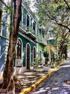 Old San Juan, Puerto Rico. The cobblestone streets are blue, the homes are colorfully painted & not overdone. Places Around The World, Oh The Places You'll Go, Places To Travel, Places To Visit, Around The Worlds, Porto Rico San Juan, San Juan Puerto Rico, Puerto Rico Trip, Puerto Rico History