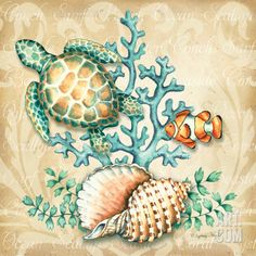 Sea Life I Art Print by Sydney Wright at Art.com                                                                                                                                                                                 More