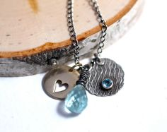 Aquamarine Necklace Charms Silver Gold Heart Graduation by amyfine, $74.00