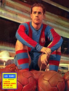 Luis Suarez, CF Barcelona, 1960 Ballon d'Or winner Retro Football, School Football, Football Kits, Vintage Football, Football Soccer, Soccer Teams, Ballon D'or, Fc Barcelona, Barcelona Players