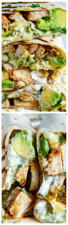 Chicken and Avocado Burritos ~ Burritos stuffed with juicy chicken, cool and creamy avocado, oozy gooey melted cheese, spicy salsa verde and sour cream!