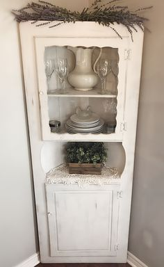 Beautiful Vintage Corner Cabinet, White Rustic ,Vintage , Wooden Cabinet Shabby Chic/French Cottage/ Farmhouse Corner Cabinet