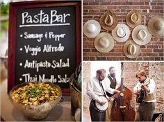 A wedding pasta bar! what a great idea to offer variety :)