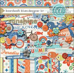 A digital scrapbooking kit by Mari Koegelenberg & Karen Lewis, Boardwalk Blues is the perfect kit to scrap your Summer Memories. Beautiful patterns and unique wood textures, with loads of beautiful word art this kit will make a statement on your summer pages.
