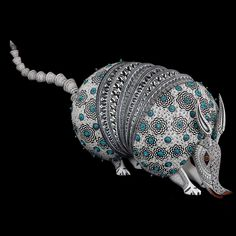 Jacobo and Maria Angeles: Armadillo Encrusted with Azurite