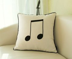 Cojines decorativos Diy Pillows, Toss Pillows, Cushions On Sofa, Decorative Pillows, Music Ornaments, Music Crafts, Fabric Stamping, Ring Pillow Wedding, Colourful Cushions