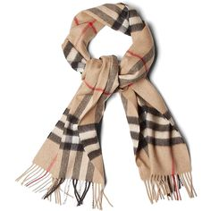 Burberry Brit Camel Check Cashmere Scarf ($406) ❤ liked on Polyvore