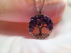Tree Of Life Necklace Amethyst Pendant Silver by Just4FunDesign