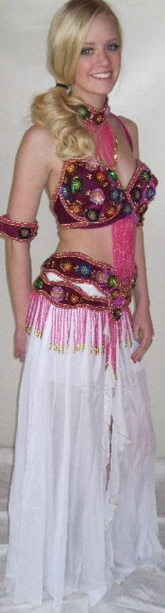 *5* Piece--Carnival Costume, Plush, highest quality Panne' velvet, lavender Velvet--Handmade all around. This is my exclusive design inspired after I visited Brazil and the Rio Festival. The 3D roses are all hand made, but are pasted onto the base material in a very sturdy manner. Each is hand stitched and took forever to make. Everything else is also hand stitched.The belt is separate from the chiffon skirt.The belt and bra are Partially covered in sparkling, multi-colored, 3-D sequin and bead Carnival Costumes, Dance Costumes, Rio Festival, Feminized Boys, Tribal Belly Dance, Cut Out Design, Chiffon Skirt, Pink Velvet, Clubwear