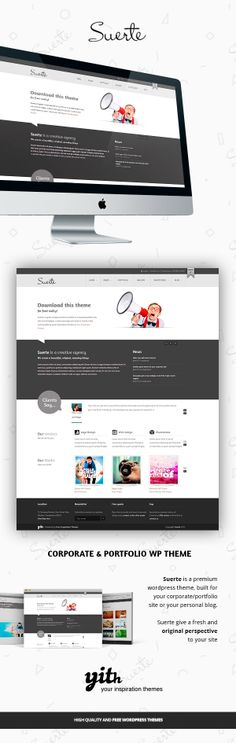 SUERTE – CORPORATE & PORTFOLIO WP THEME by Your Inspiration , via Behance