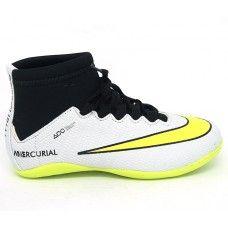 9f5edba747ef6 Comprar Chuteira Infantil Nike Mercurial Cano Alto Futsal Branco e Verde  Limão online e barato