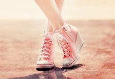 Pink wedge converse